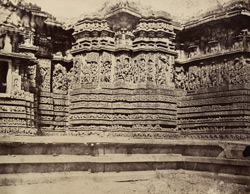Hullabeed. The Great Temple. South-west front of antechamber of southern vimana. [Hoysaleshwara Temple, Halebid.]